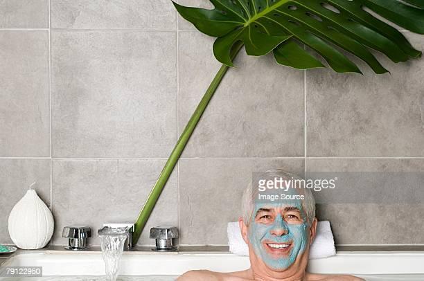 Senior man wearing a face mask