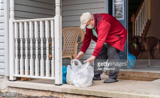 senior man wearing a protective mask and gloves is taking groceries out of the bins left on his porch into his house during covid-19 pandemic outbreak. a curious dog came along with the owner. - alex potemkin coronavirus stock pictures, royalty-free photos & images