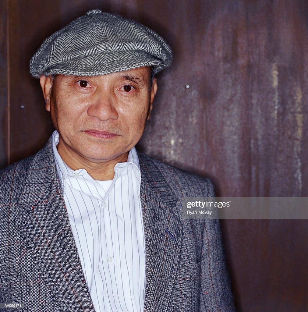 Senior Man Wearing Flat Cap Portrait Stock Photo  420c0252987