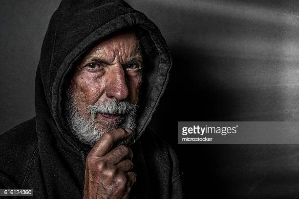 Senior Man Wearing Hooded Shirt