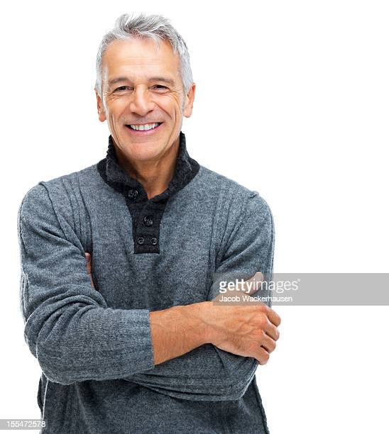 senior man with a content smile - white background stockfoto's en -beelden