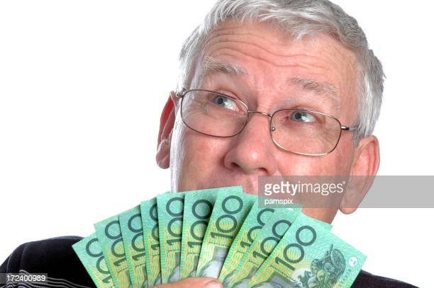 Senior Man With Australian Money