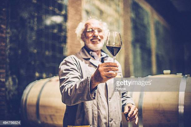 senior man with beard holding glass of red wine - viniculture stock pictures, royalty-free photos & images
