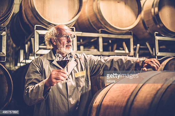 senior man with beard holding glass of red wine - producer stock pictures, royalty-free photos & images