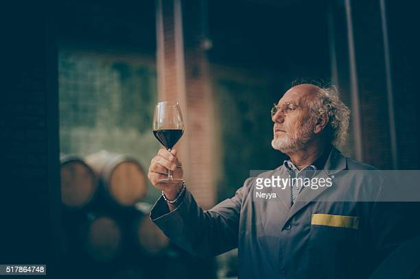 Senior Man with Beard Holding Glass of Red Wine