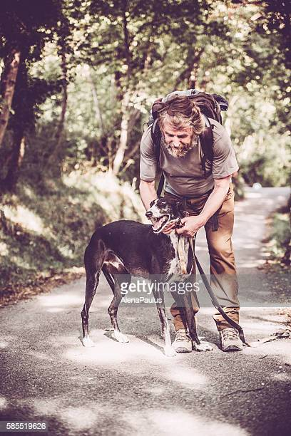 Senior man with beard - Mountaineer and his greyhound dog