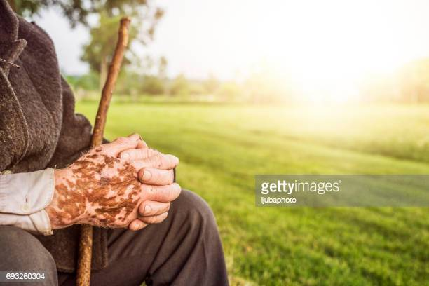 Senior man with folded hands with sunset as background - focus on the weathered hands