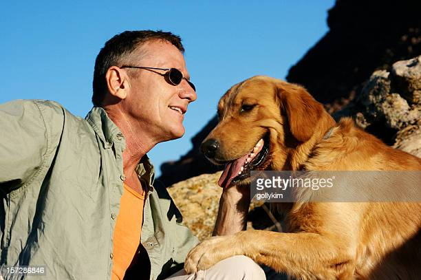 Senior Man with Golden Retriever