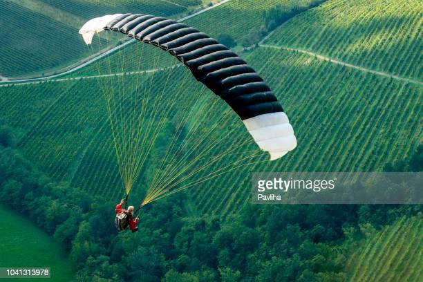 senior man with gray long beard paragliding in julian alps, primorska region in slovenia, europe - glider stock photos and pictures