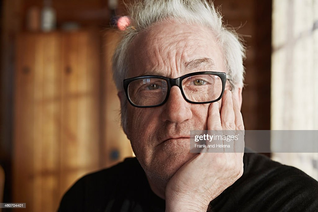 Senior man with grey hair and glasses : Stock Photo