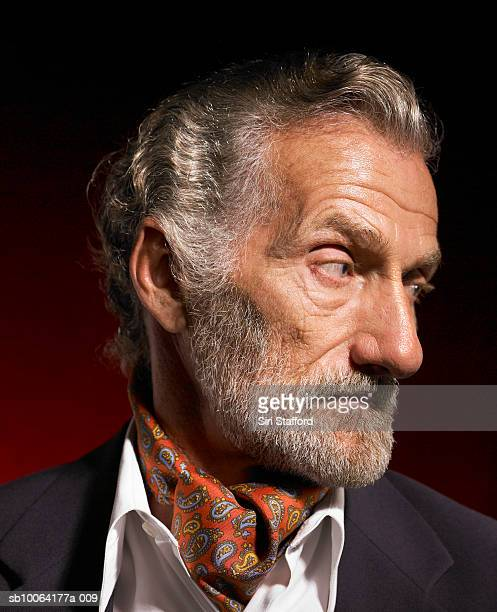 Senior man with grey hair and gray beard wearing red ascot and blue jacket, close-up