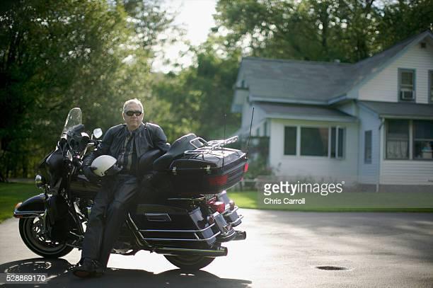 Senior Man with Motorcycle
