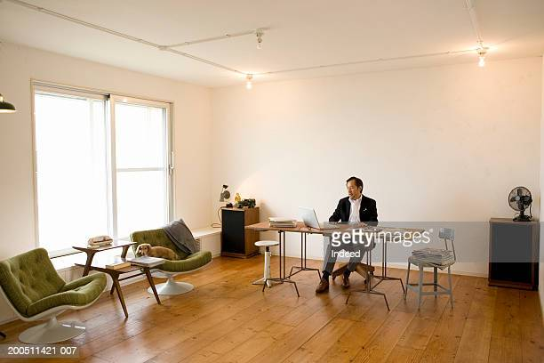 Senior man working at desk in spacious home office
