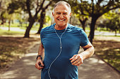 Senior man working out for good health