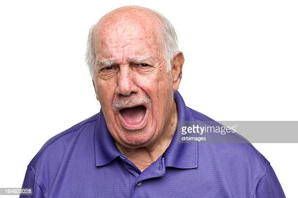 Senior man yelling and looking angry