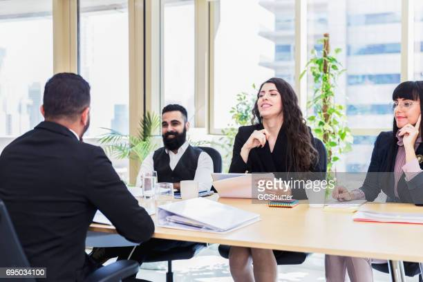 Senior management team taking an interview of a prospective executive