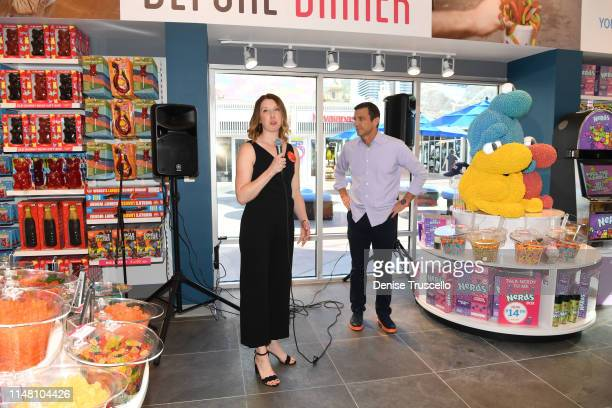 """Senior Marketing Director for Ferrara Candy Katie Ferguson Duffy and Founder and CEO of IT'SUGAR Jeff Rubin during the IT""""SUGAR grand opening..."""