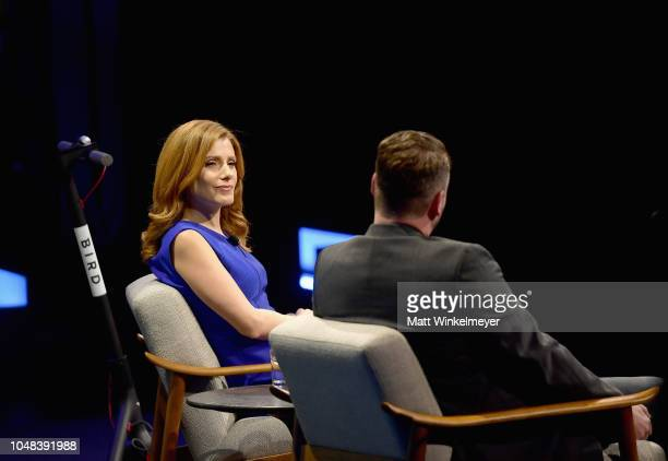 Senior Media and Entertainment Reporter at CNBC Julia Boorstin and Founder and CEO of Bird Travis Vanderzanden speak onstage at Day 1 of the Vanity...