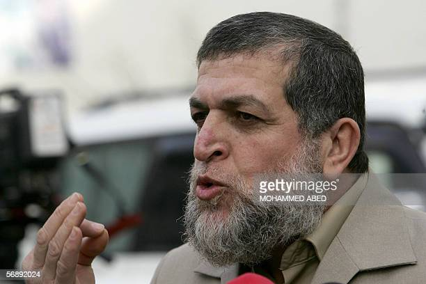 Senior member of the radical Islamic movement Jihad Nafez Azam addresses journalists after a meeting with Hamas leader and MP Mahmud alZahar 20...