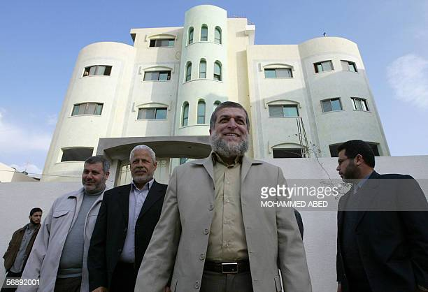 Senior members of the Isalmic Jihad movement Nafez Azam and Khaled Batsh leave a meeting with Hamas leader and MP Mahmud alZahar 20 February 2006 The...