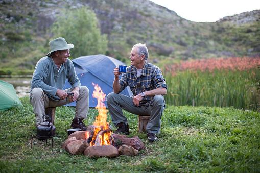 Senior men camping outdoors - gettyimageskorea