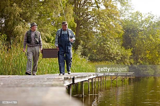 Senior men fishing at the lake