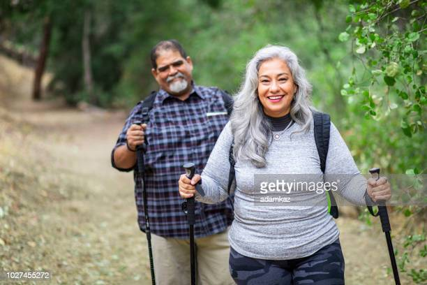 Senior Mexican Woman Hiking with her Husband