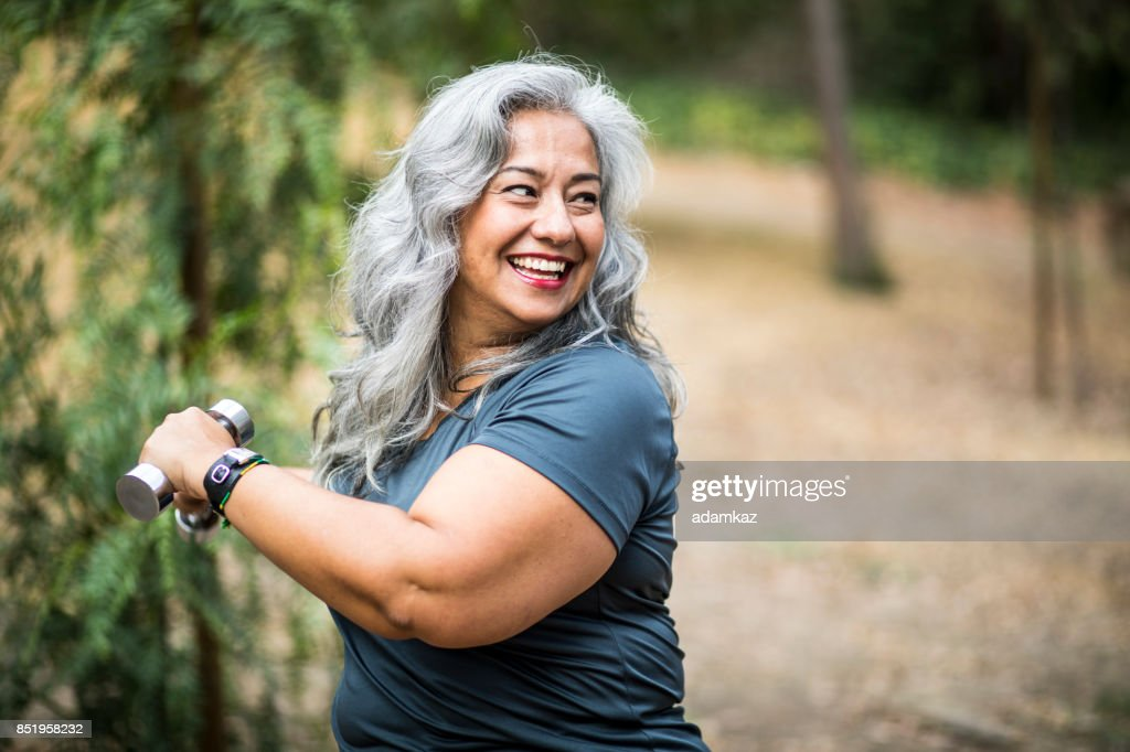 Senior Mexican Woman Working Out : Stock Photo