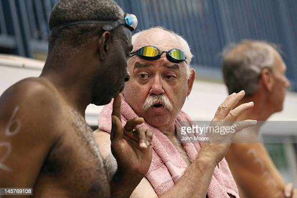 Senior miltary veterans talk ahead of the swimming competition at the National Golden Age Games on June 4 2012 in St Peters Missouri Almost 800...