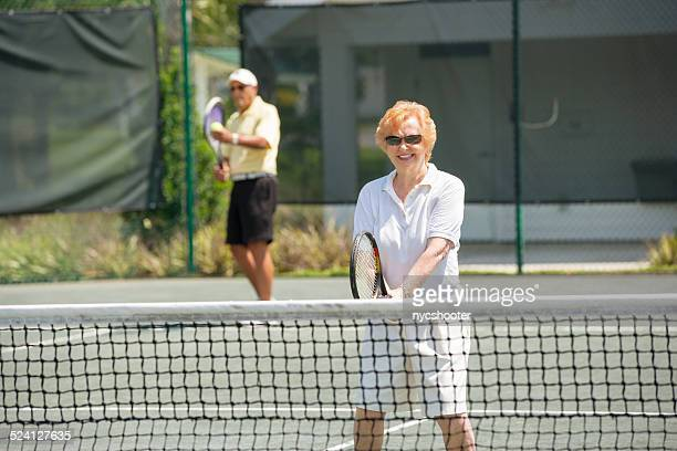 senior mixed doubles tennis match - doubles sports competition format stock pictures, royalty-free photos & images