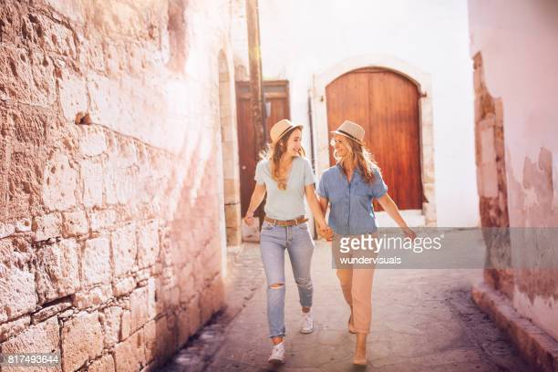 Senior mother and adult daughter on summer holidays in Europe