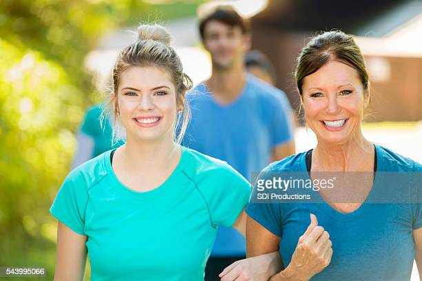 Senior mother and her daughter on a walk together