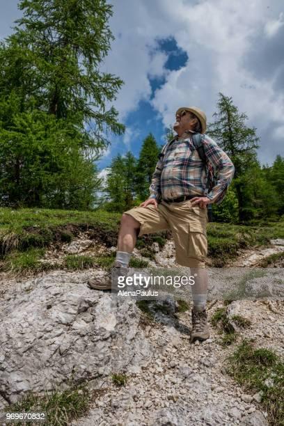 senior-bergsteiger in den alpen wandern - aktiver lebensstil stock-fotos und bilder