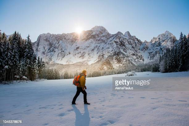 senior mountaineer in alps, winter - wonderlust stock pictures, royalty-free photos & images