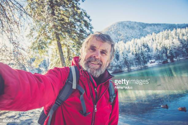 Senior Mountaineer in Alps, Winter