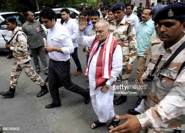 BJP senior Murli Manohar Joshi waves as he reaches at VVIP guest house on May 30 2017 in Lucknow India Senior BJP leaders LK Advani Union Minister...