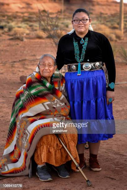 Senior Native American Grandmother with Teenage Granddaighter