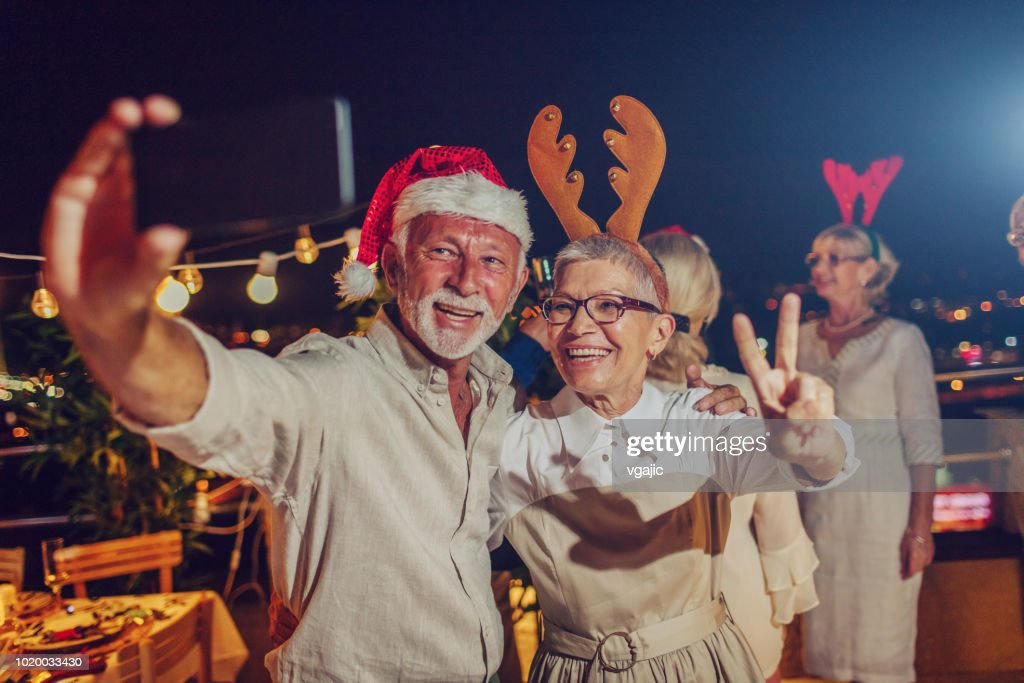 Senior New Year Rooftop Party : Stock Photo
