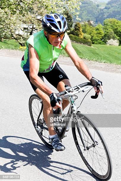 Senior on a racing bicycle
