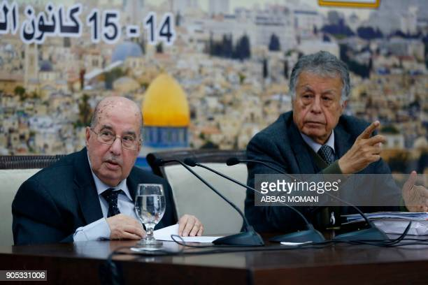 Senior Palestinian official Salim Zaanoun reads a statement at the end of a meeting of the Palestinian Central Council in the West Bank city of...