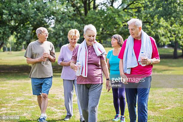 Senior people after working out at park