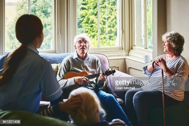 Senior people enjoy at nursing home