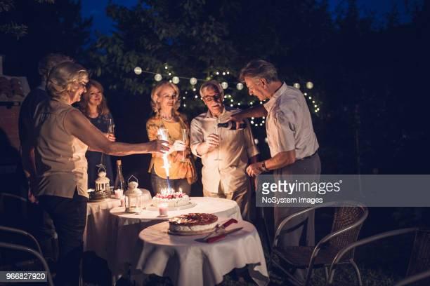 senior people, friends, enjoying birthday party outdoors - 55 59 anni foto e immagini stock