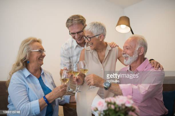 senior people having celebratory toast - drunk wife at party stock pictures, royalty-free photos & images