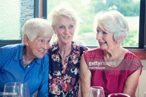 Personas mayores con cena y conversación en casa de verano.