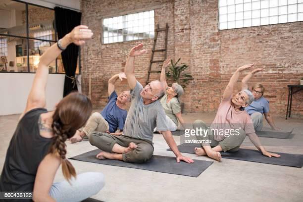 senior people yoga classroom