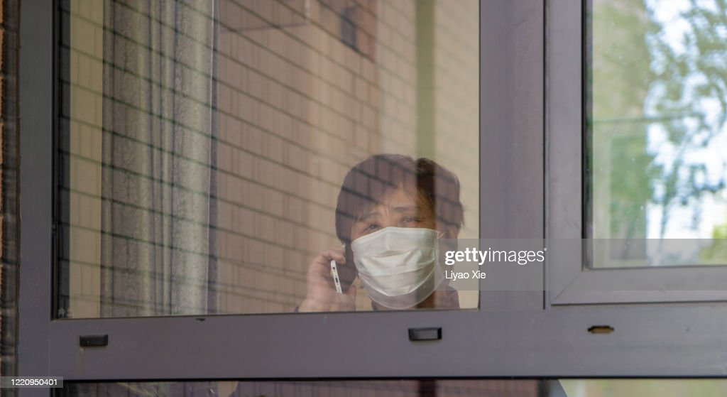 Senior people lockdown at home : Stock Photo
