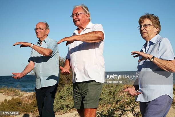 Senior people practicing tai chi chuan at the beach
