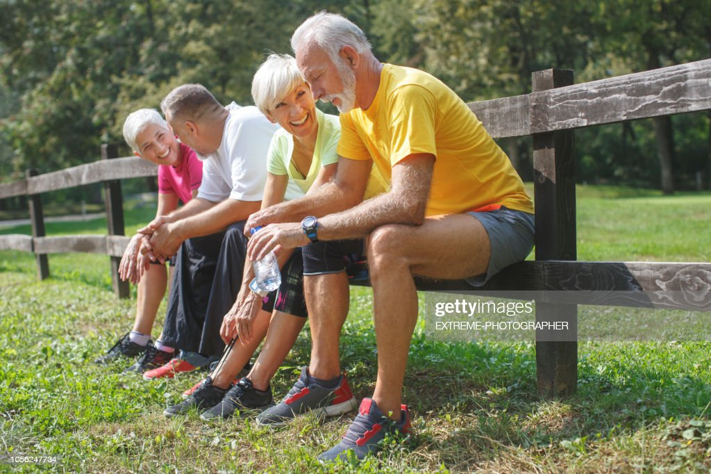 Senior people resting outdoors : Stock Photo