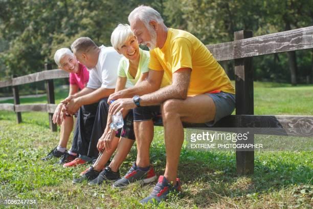Senior people resting outdoors